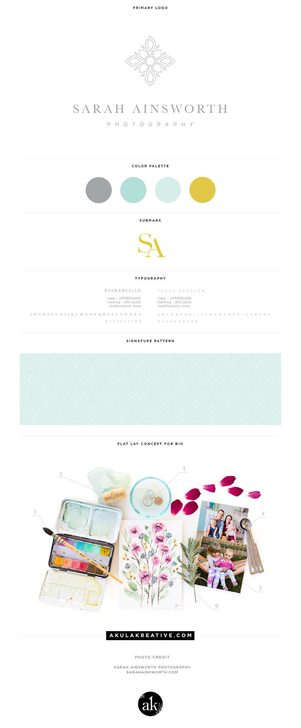 Clean, professional, timeless branding in gray, aqua, and chartreuse / mustard yellow for Sarah Ainsworth Photography in Houston, TX | Design by Akula Kreative | akulakreative.com