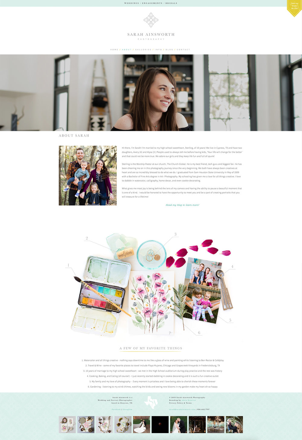 About Page from a Custom Squarespace Site for Sarah Ainsworth Photography | Designed by Akula Kreative | akulakreative.com