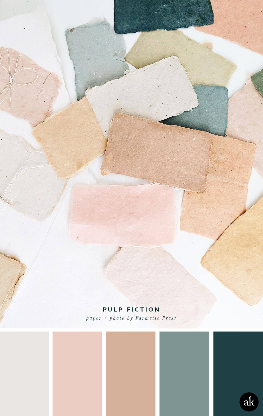 a handmade-pastel-paper-inspired color palette | soft gray, blush pink, tan pink, gray-blue | paper and photo by Farmette Press
