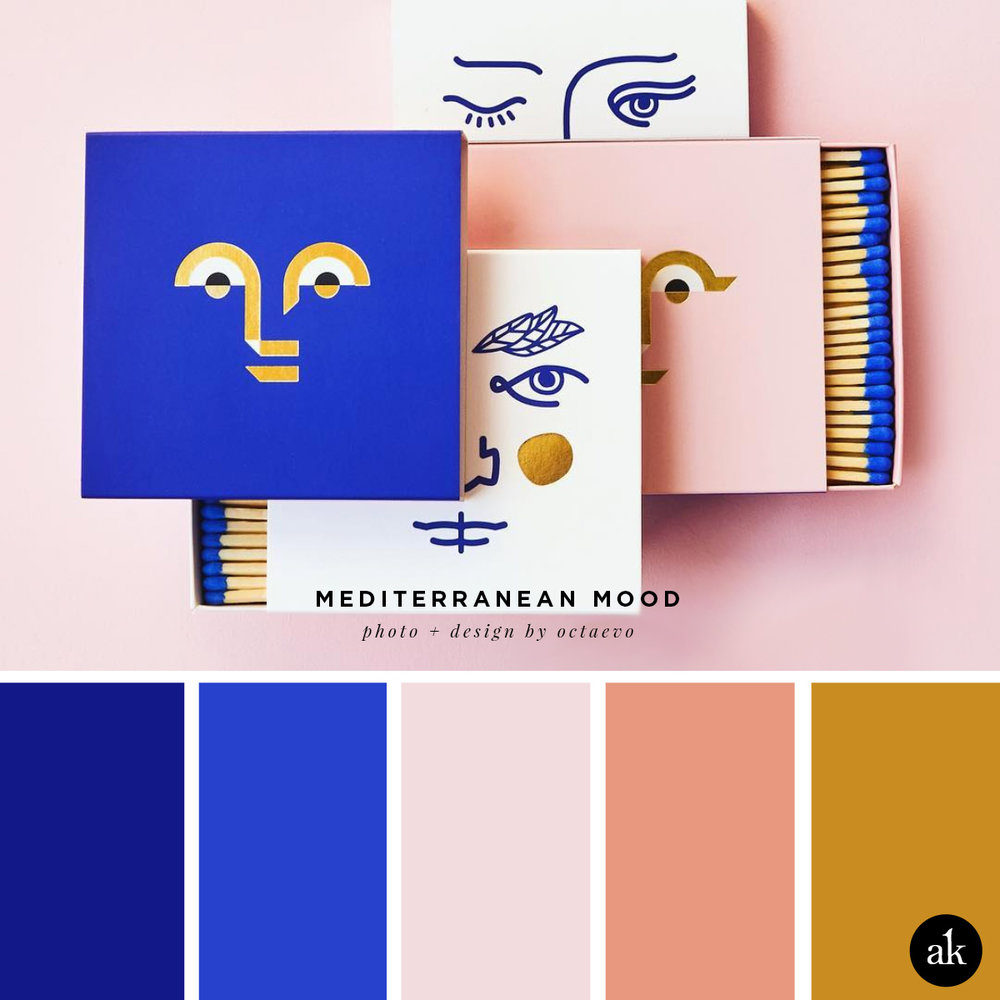 a Mediterranean-matchbox-inspired color palette | Mediterranean blue, blush pink, salmon, gold | photo and design by octaevo