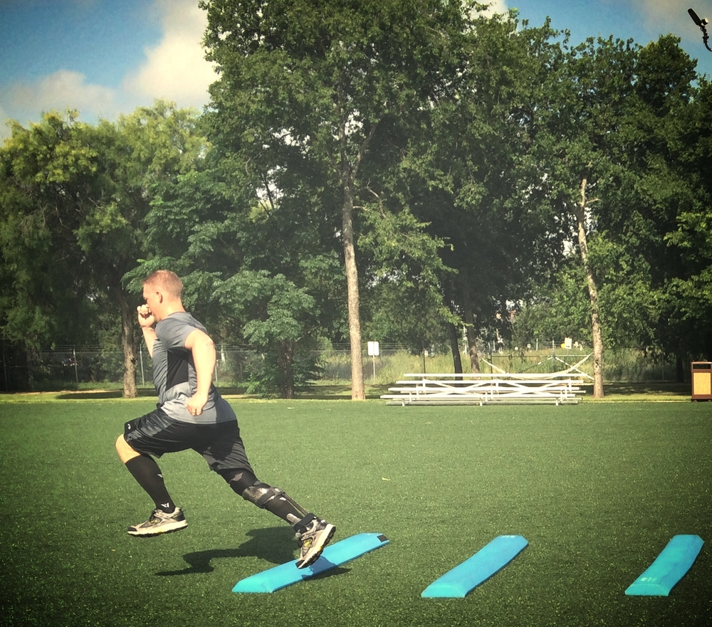 Josh Revak at the Center for the Intrepid in June 2015, sprinting for the first time since 2005.