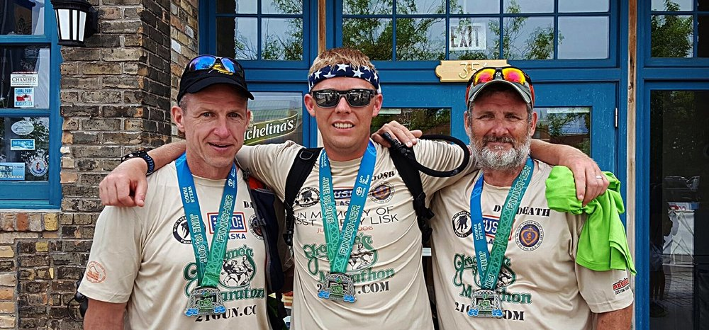 Dave Houston, Josh Revak and Vincent Antunez finish Grandma's Marathon June, 2016