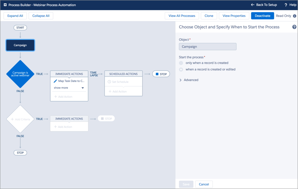 Easily tie campaign creation to project template kickoff in TaskRay by using a quick process builder in Salesforce.