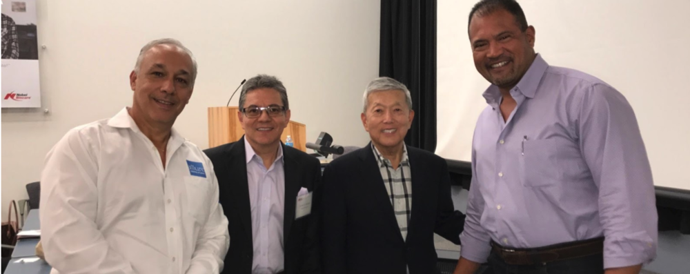 From right to Left; Dr McMurray (maxillofacial surgeon), Dr. Kenji W. Higuchi (Trefoil innovator), Dr Marroquin (Restorative Doctor), Mr Frank Charles Pope (Co-founder and Co-owner of Allure Dental Studio)