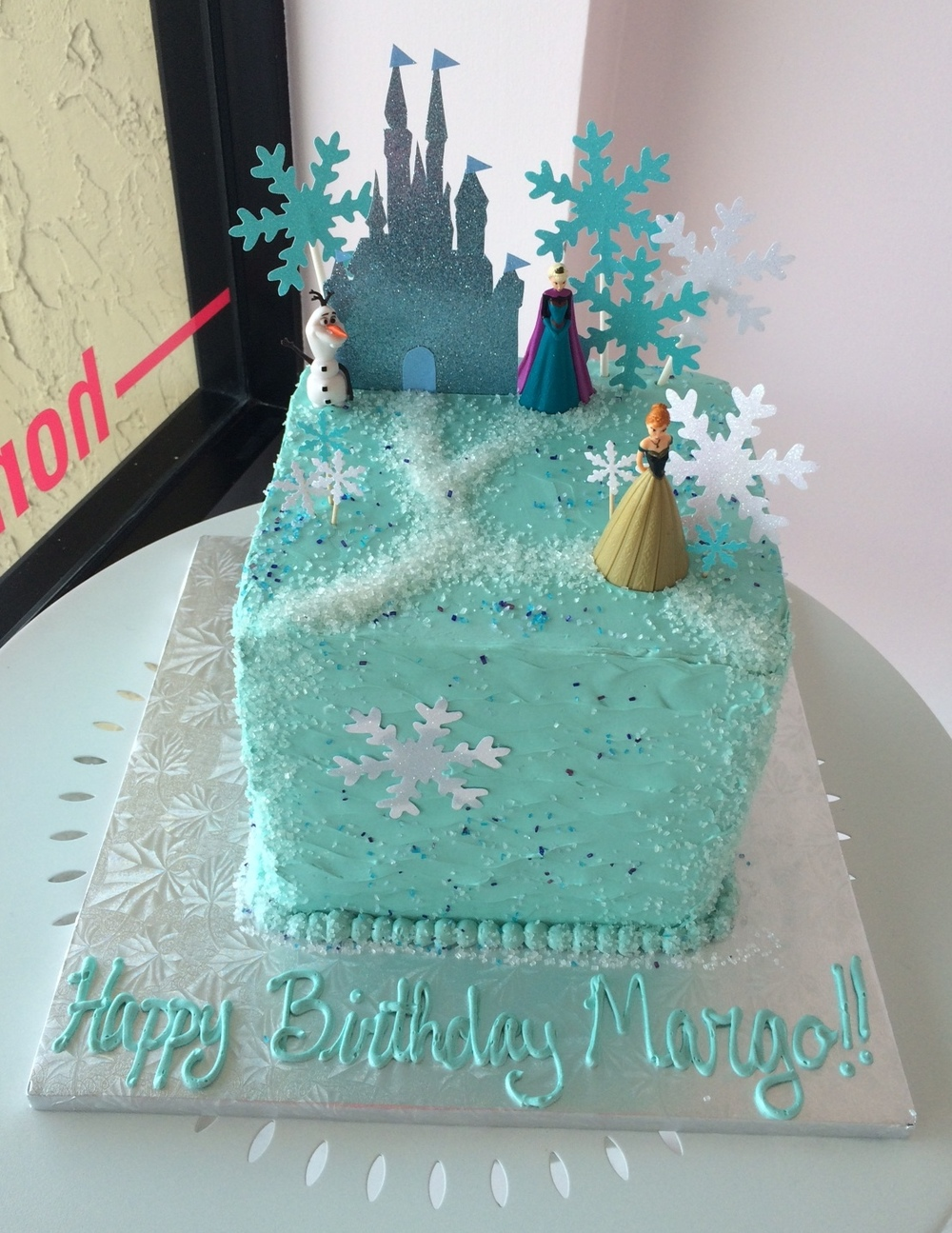 Frozen Birthday Cake with Castle.JPG