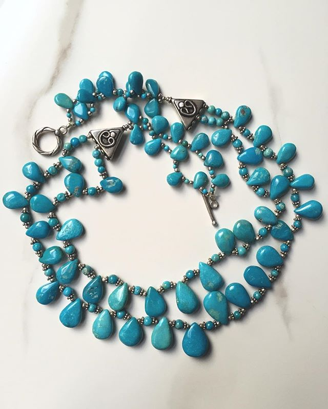 Check out this sweet #Spring #necklace made from our #beautiful #turquoise   victorybeadsinc.com