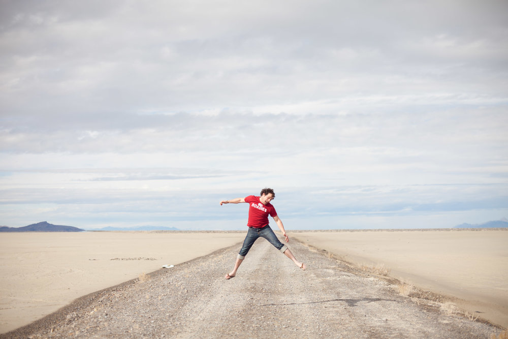 Founder of the Million Dollar Road Trip, Walter Hessert on the Bonneville Salt Flats