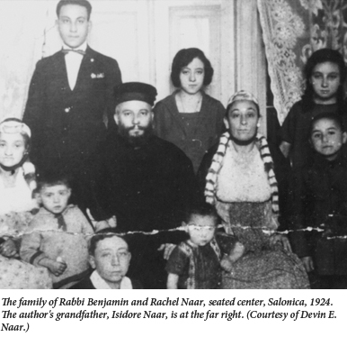 The family of Rabbi Benjamin and Rachel Naar in Salonica 1924