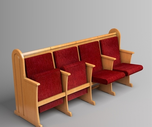 """A sample of the type of pew made by Kibbutz Lavi. This is their """"Classical"""" style."""