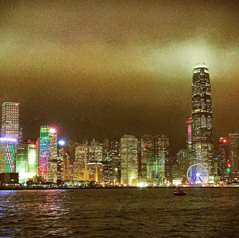 Nighttime views via The Star Ferry