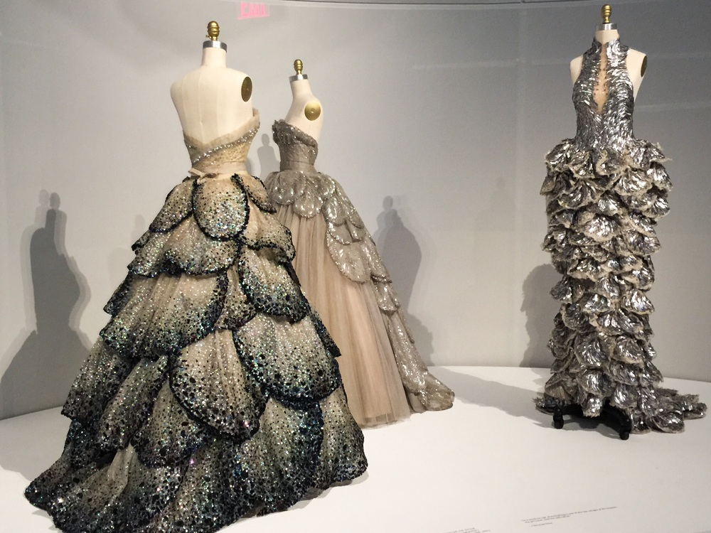 Christian Dior, Autumn Winter 1959, Haute Couture (left and center), Sarah Burton for Alexander McQueen (right)