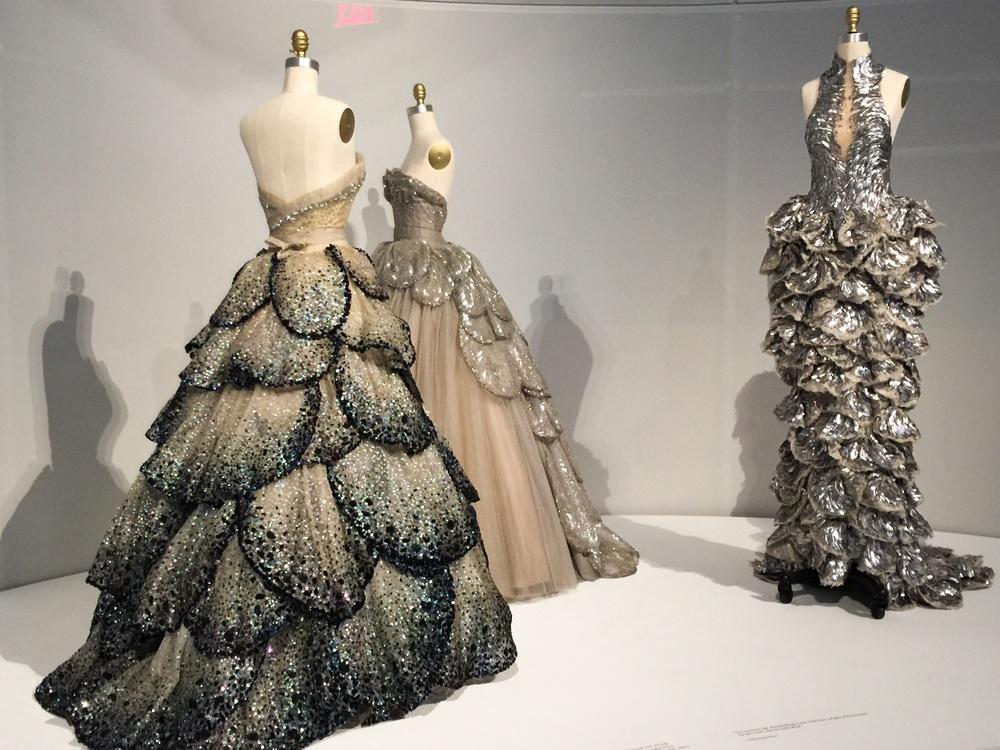 Christian Dior, Autumn Winter 1959, Haute Couture (left and center), Sarah Burton for Alexander McQueen (right)