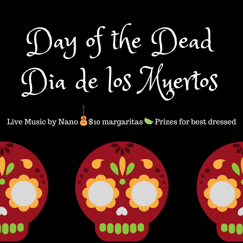 Barcito will once again be honouring Dia de los Muertos or Day of the Dead - a lively Latin American celebration that combines indigenous rituals with Spanish traditions. Assured that the dead would be insulted by mourning and sadness, Dia de los Muertos celebrates these souls and death as part of the human experience. - Live Latino music by Nano - $10 Margaritas - Prizes awarded to best dressed