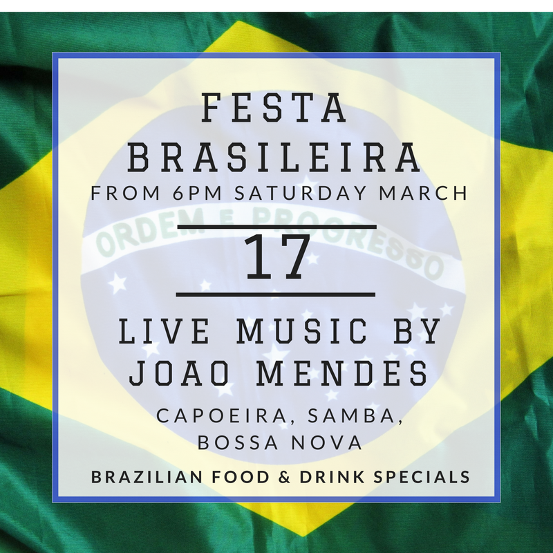 Our favourite Brazilians have returned from their trip home and what better way to celebrate than with a Festa Brasileira! It will be a night of dancing, eating and good times! - Live music by Joao Mendes, followed by DJ Julio - Capoeira demonstrations by Capoeira Newcastle - Samba show by Pivot Dance - Brazilian food & caipirinha cocktail specials