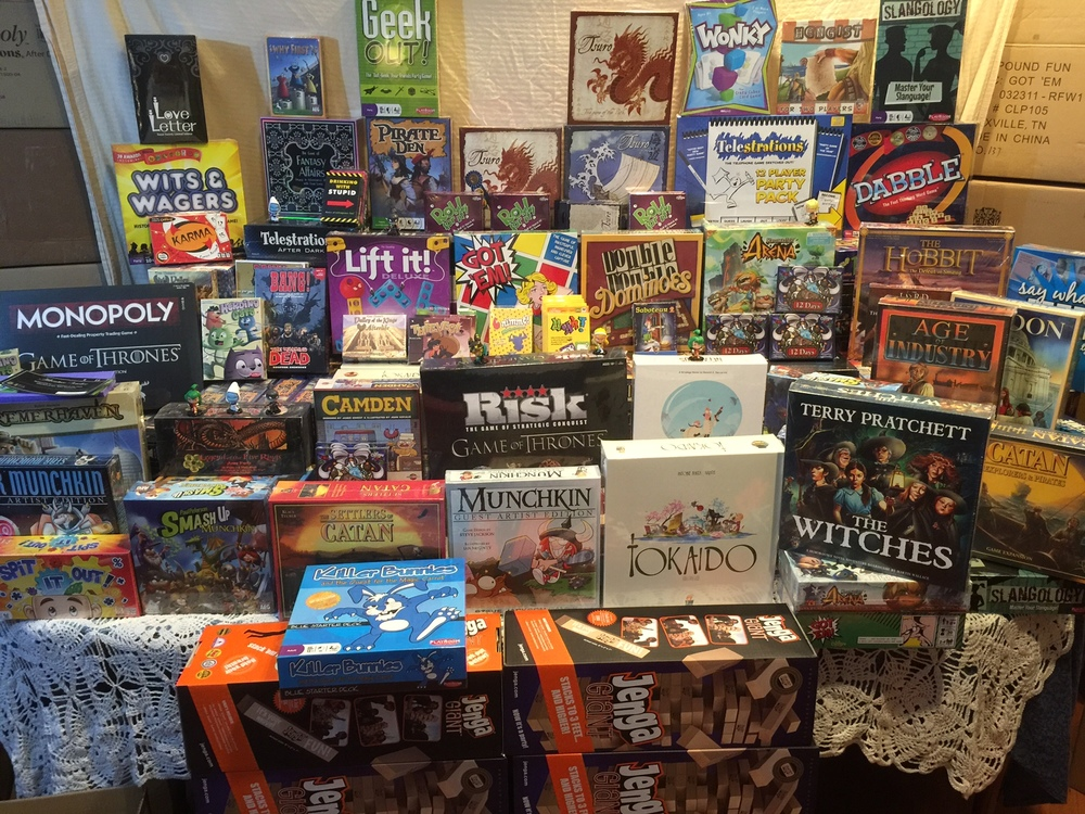 The tiers of this display are made up entirely of games! It's games on top of games on top of games--and they're all going home with YOU!