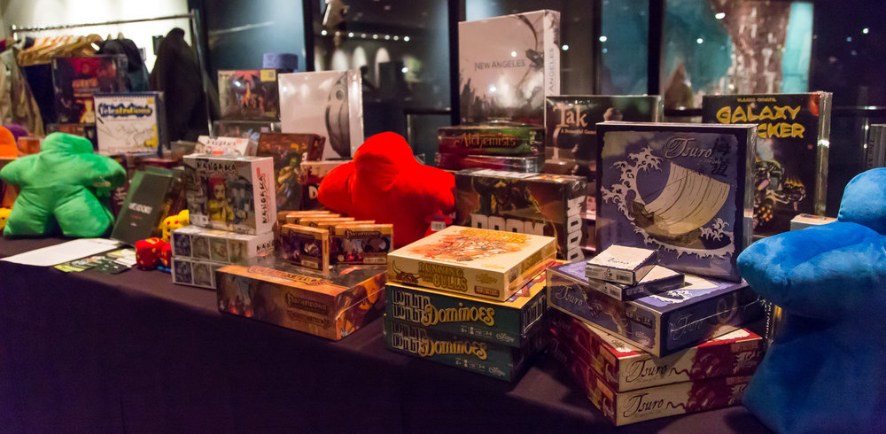 Only part of the prize table from our Night of Board Gaming for Good, ComiCon Edition 2017.