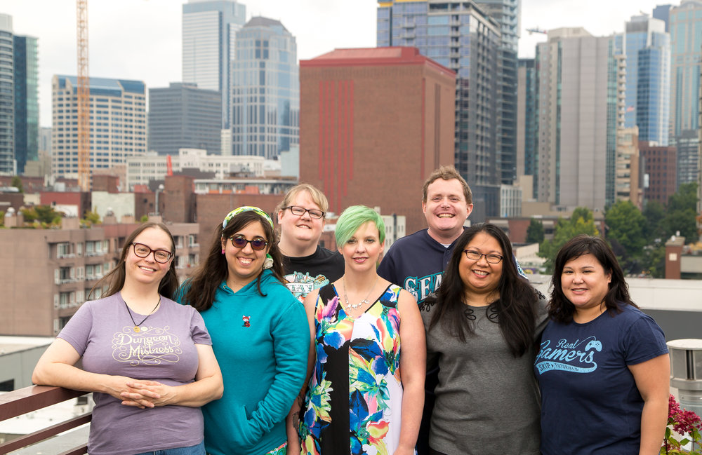 The 2017-2018 crew at FTW Events, from left to right: Cat, Sarah, Shannon, Chris, Matt, Norma, Carmel   Not pictured: Ray