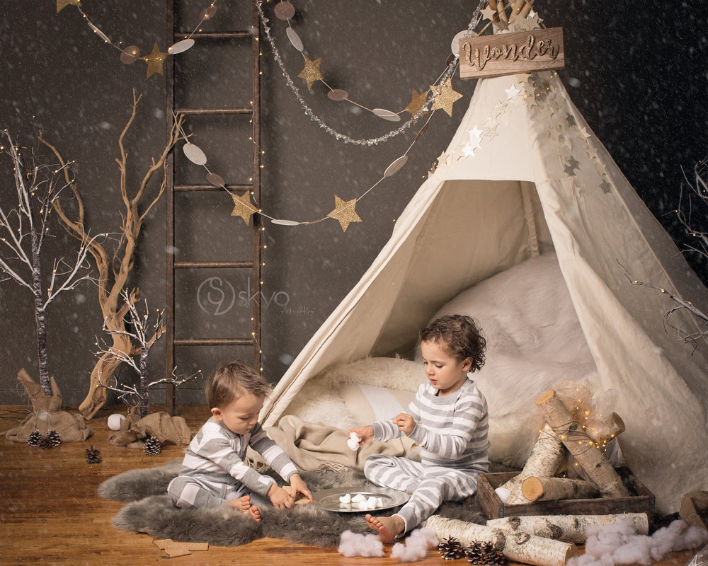 PB Kids style winter mini-session with two brothers making s'mores in a tent on a snowy night