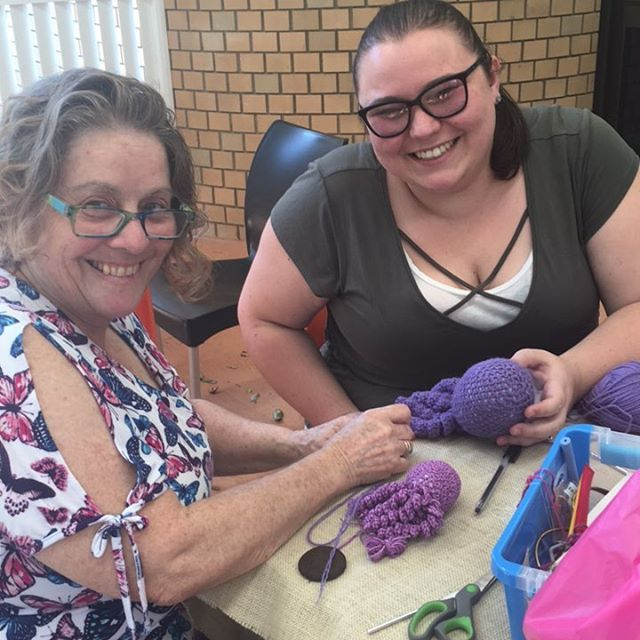 Finishing off the first crocheted octopus! #yay #genxchange #crochet #expressyourself #sunshinecoastlibraries #sunshinecoast #library #genfriends #squidward