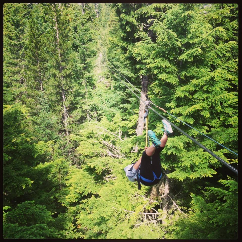 Ziplining through the trees in Whistler, British Columbia.