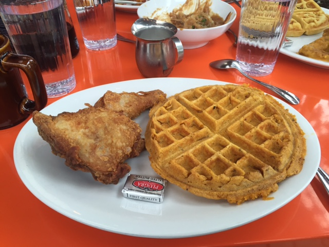 Fried chicken and a cracklin' waffle. Delicious!