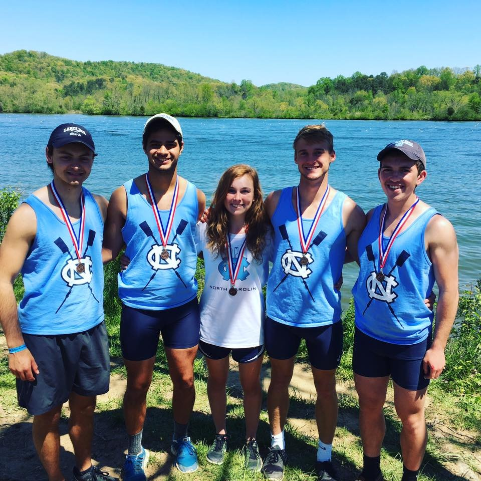 From left: Parker Ballner, Daniel Valder, Zoe Sparks, Jared Noble, and Jon De Tulio with their medals following a third place finish in the Novice Lightweight 4+.