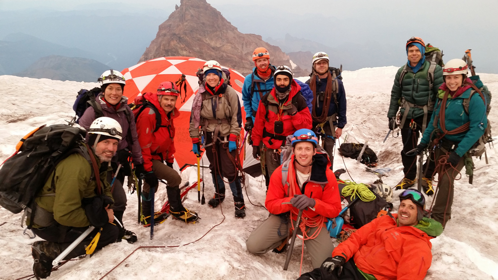 One of the porter teams at Ingraham Flats on Mt Rainier expedition