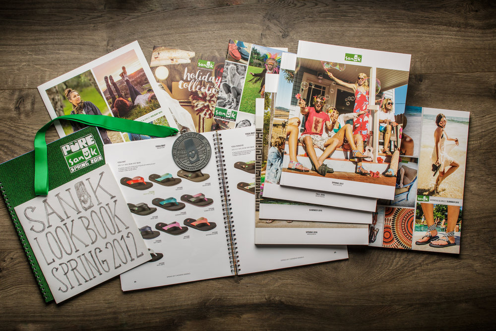 Sanuk Footwear   It started in 2011 with printing their Spring Look Book. We are still going strong producing and delivering catalogs, brochures and promotional items.