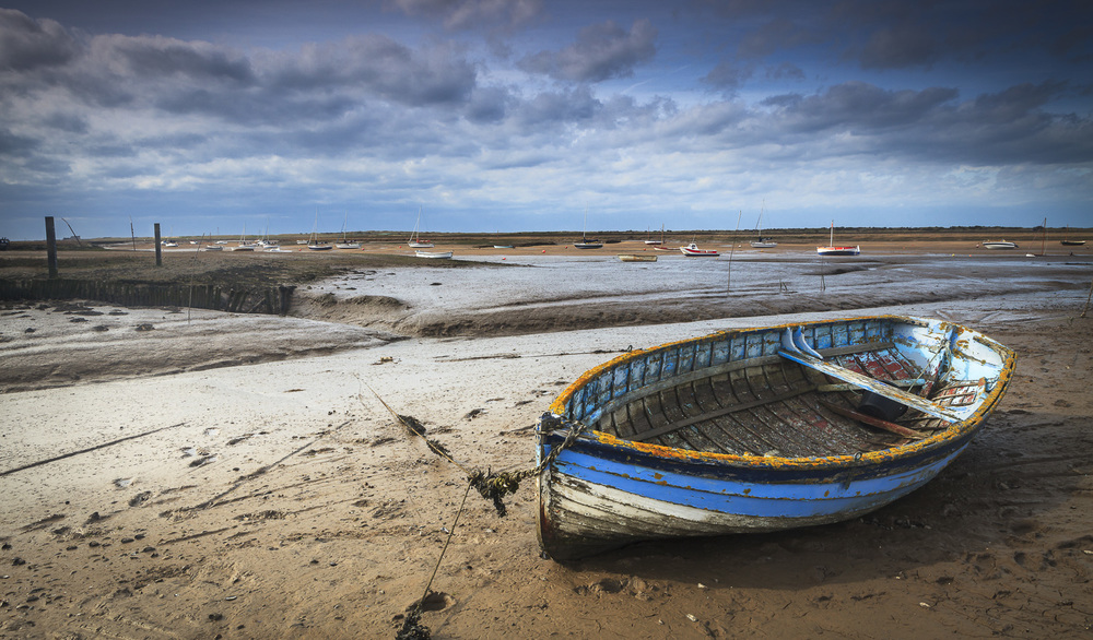 Blue Boat on a Norfolk mudbank