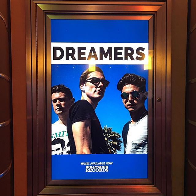 """Our drummer was recently in Orlando, Florida about to ride the """"Rock and Roller coaster"""" and spotted this on the wall! We played with them awhile back at @thelosthorizonsyracuse and had a blast with them! Make sure you guys check them out!! #dreamers #calivibes #rockandrollercoaster #orlando #florida #hollywoodrecords #hollywood #famous #stars #threeamigos #bandmates #pals #shades #lookinggood #altrock"""