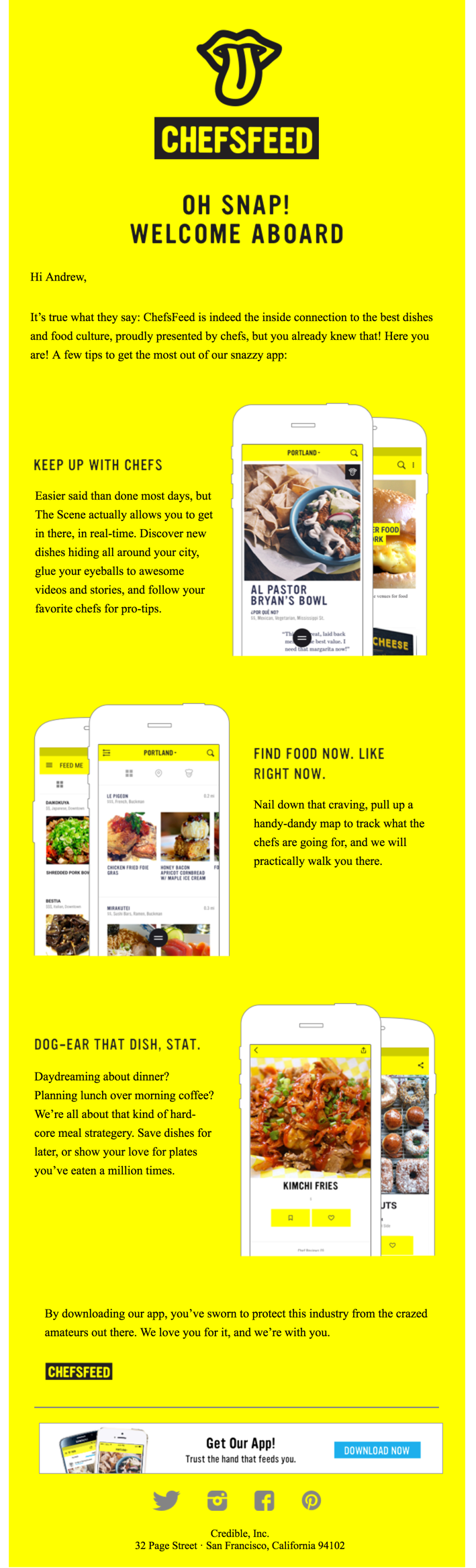 Subject Line: Welcome email from Chefs Feed