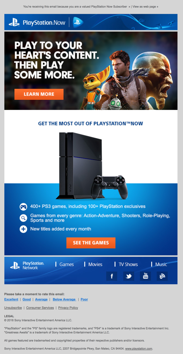 Subject Line: Playstation Welcome Email