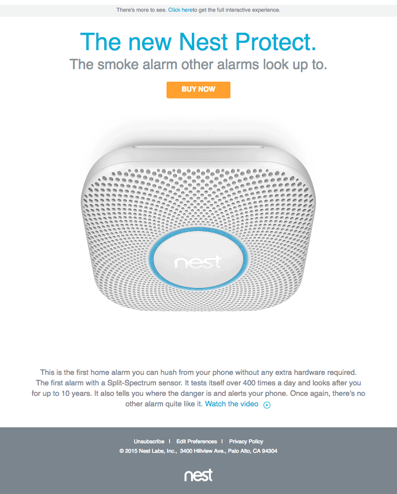 Nest: Carousel email