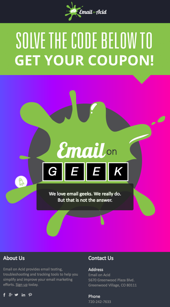 Email on Acid: Interactive coupon email