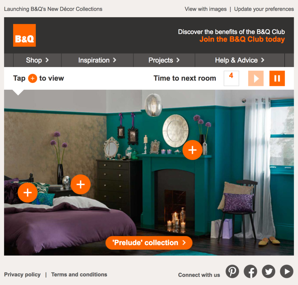 B&Q: Carousel, timer, and hot spots