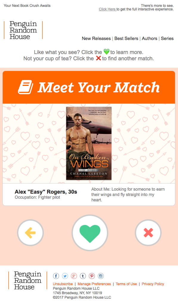Penguin Random House: Tinder within an email