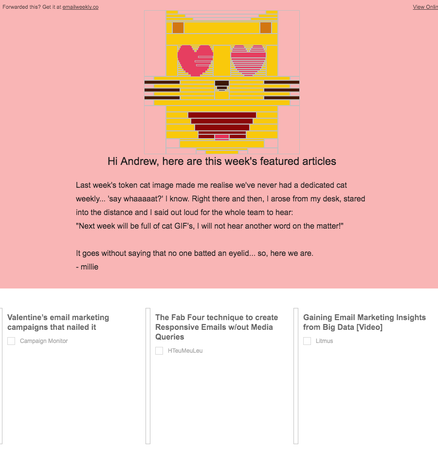 Action Rocket: Cat edition of EmailWeekly
