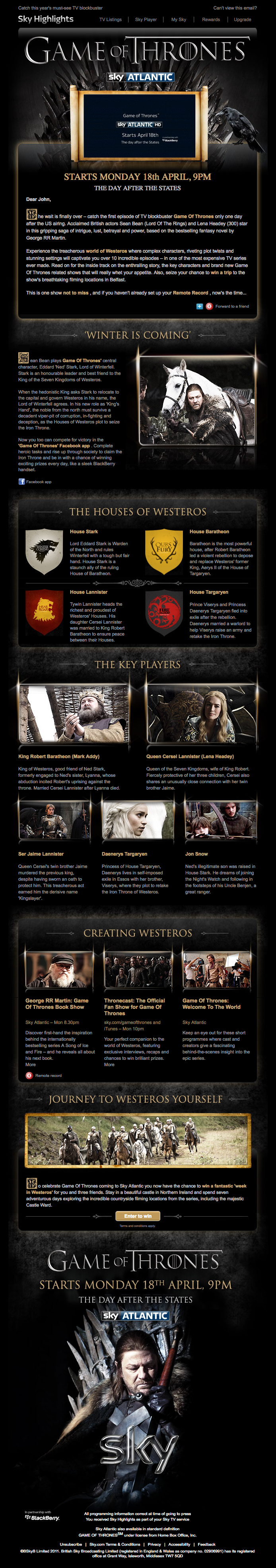 Game of Thrones: Video in email