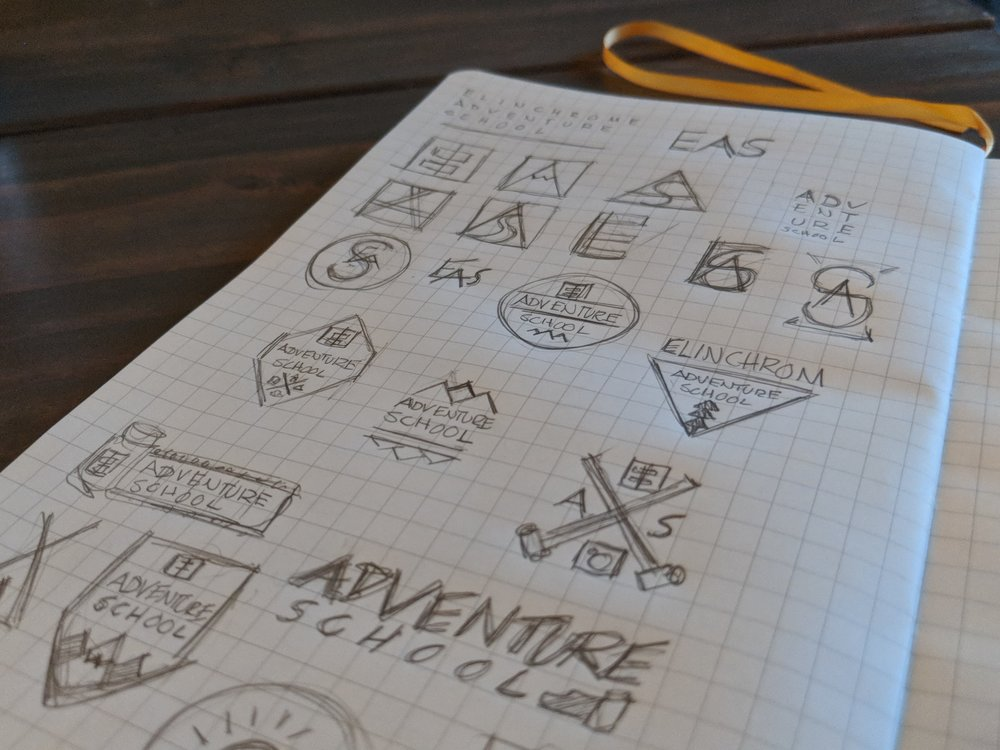 Logo: Sketches - Adventure School's logo needed to compliment the existing, geometric look of Elinchrom's branding.Multiple options were explored, ranging from illustrative solutions to abstract.