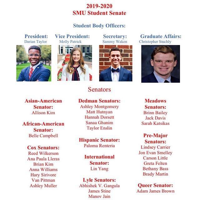 Congrats to the newly elected Senate members for the 2019-2020 school year! We are excited to see all that the 106th SMU Student Senate will do!!