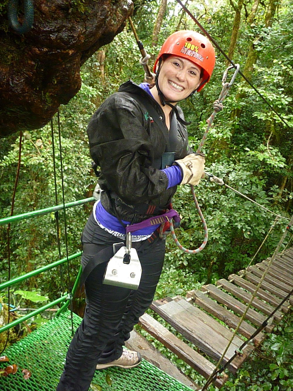 Happy times ziplining; just let the fear pass and relax!
