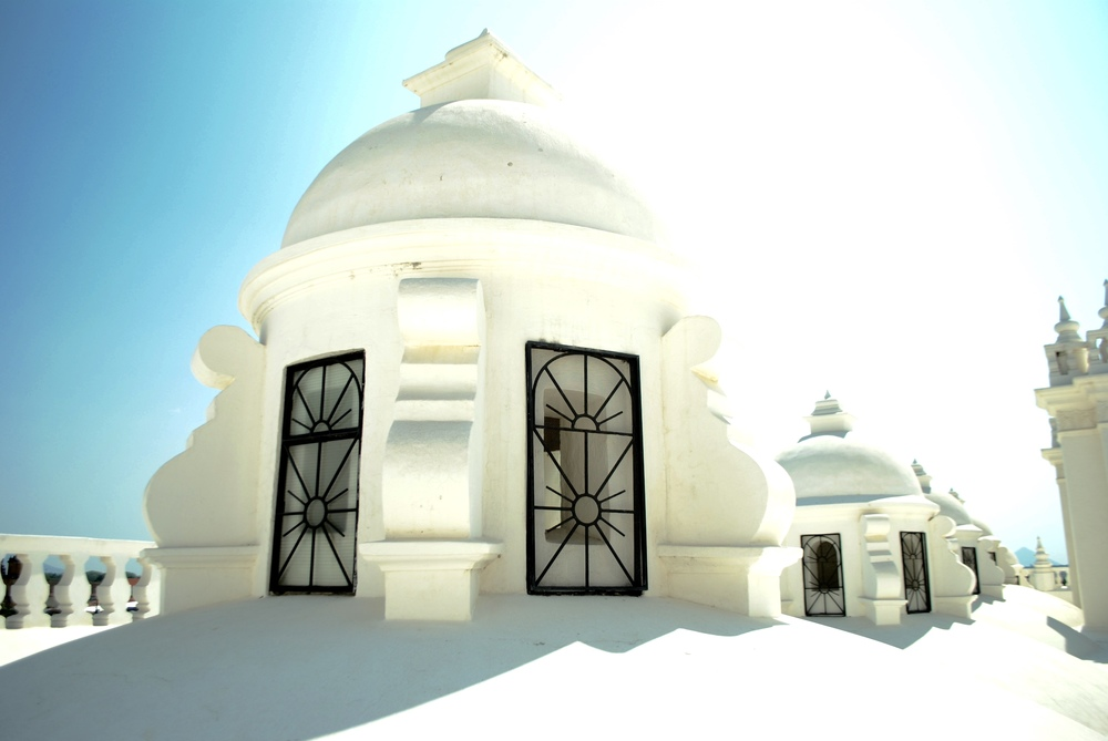 Domes on the white cathedral in Leon