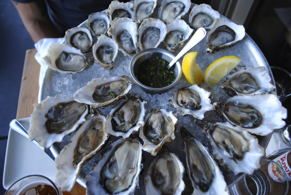Fresh local oysters and a glass of champagne, perfection!