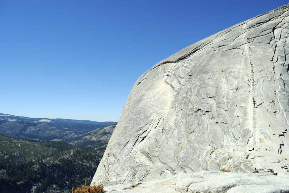 Reaching the cables at Half Dome, a truly intimidating experience.