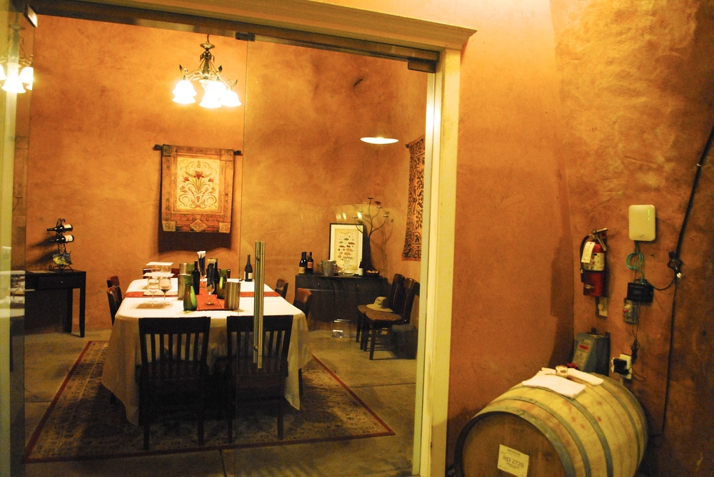 Private tasting in the 'wine cave'.