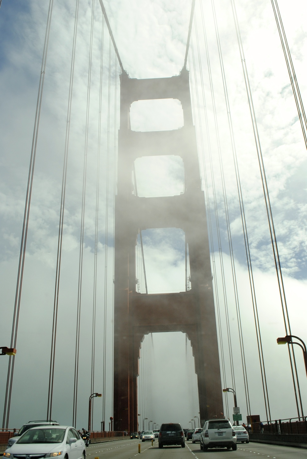 Crossing the foggy Golden Gate Bridge!