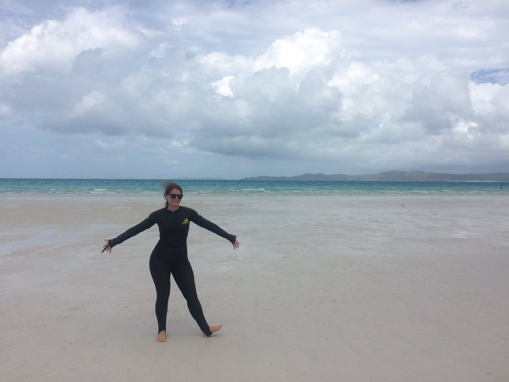 Beach ready in my stinger suit at Whitehaven Beach - Whitsundays, east coast Australia.
