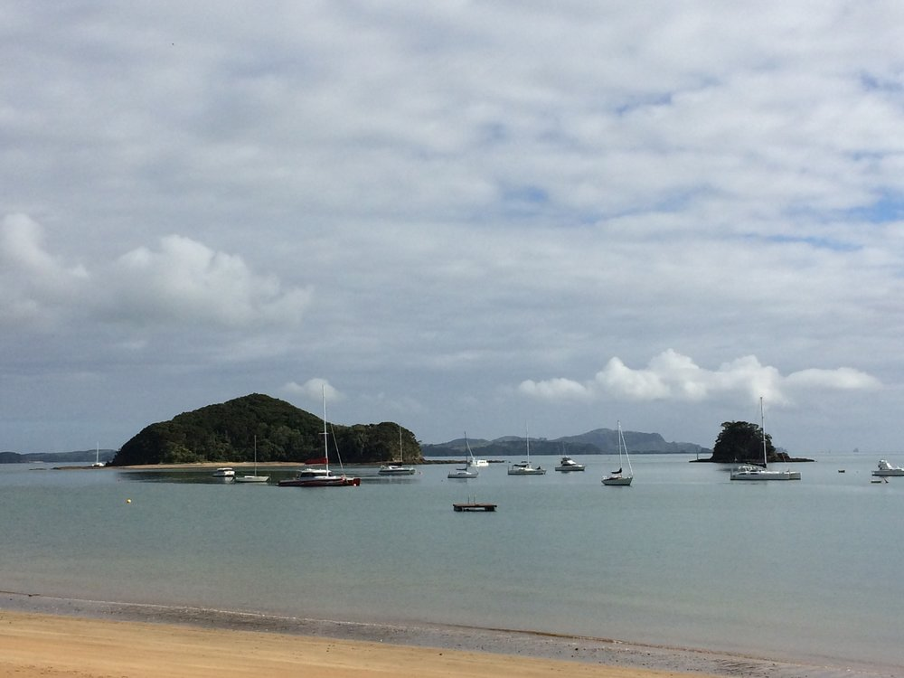 Walking the beach in Paihia, Bay of Islands.