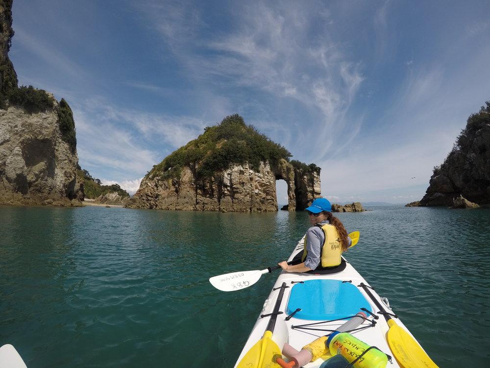 Renting kayaks in Golden Bay.