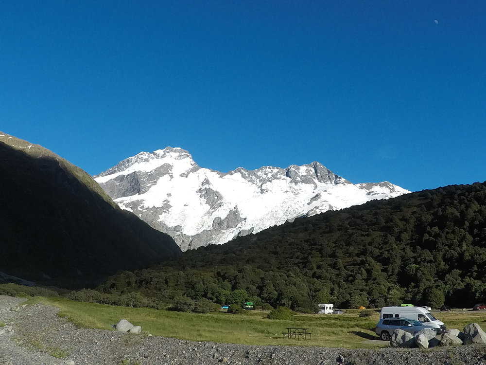 The calm after the storm - camping at Mount Cook National Park.